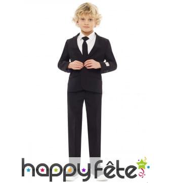 Costume 3 pièces classique noir uni pour enfant