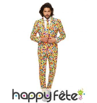 Costume 3 pièces confettis multicolores