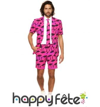 Costume 3 pièces d'été rose imprimé palmiers