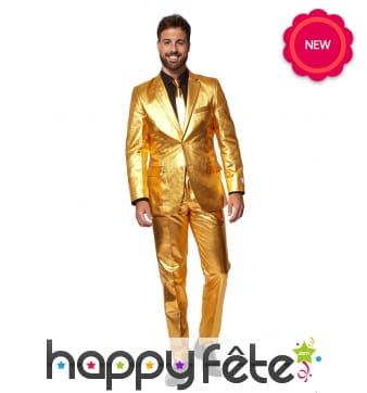 Costume 3 pièces doré uni