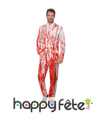 Costume 3 pièces éclaboussé de sang