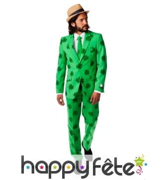 Costume 3 pièces imprimé trèfles verts