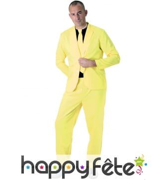 Costume 3 pièces jaune fluo