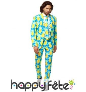 Costume 3 pièces motif ananas, pour homme
