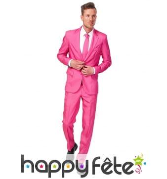Costume 3 pièces rose uni pour homme