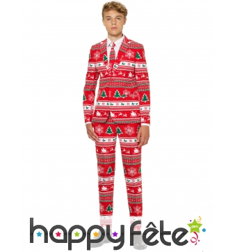 Costume 3 pièces rouge de Noël pour ado