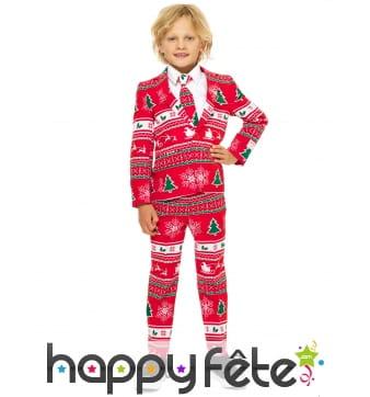 Costume 3 pièces rouge de Noël pour enfant