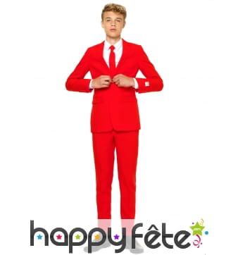 Costume 3 pièces rouge uni pour ado