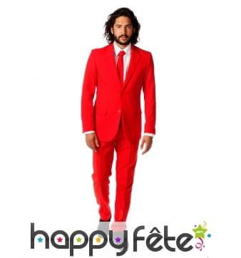 Costume 3 pièces rouge uni