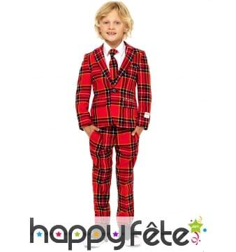 Costume 3 pièces Tartan rouge pour enfant