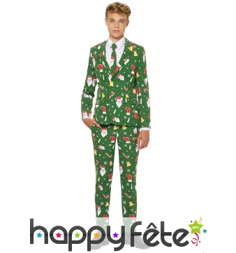 Costume 3 pièces vert de Noël pour ado