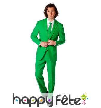 Costume 3 pièces vert uni