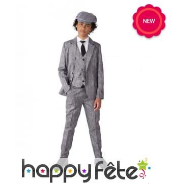 Costume 4 pièces gris années 20 pour enfant