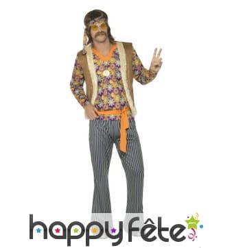 Costume années 60 motifs hippie pour homme