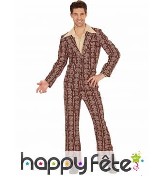 Costume années 70 camaïeu de marron pour homme