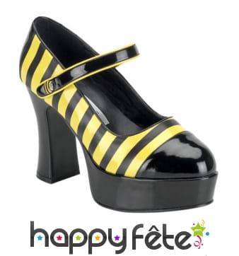 Chaussures abeille à talon large