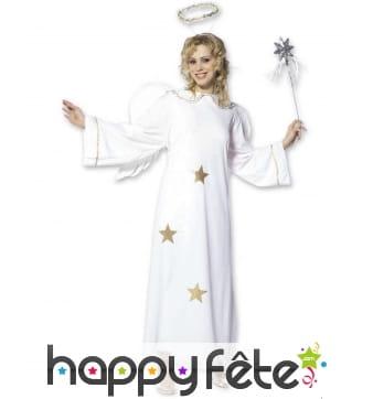 Costume ange blanc avec étoile dorée pour femme