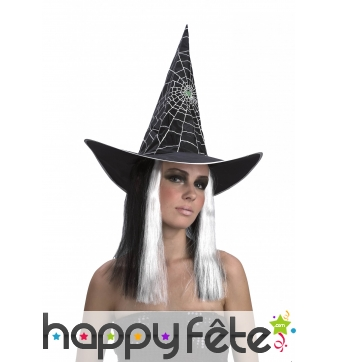 Chapeau araignée de sorcière avec perruque