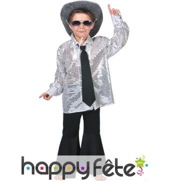 Chemise argentée disco pour petit garçon