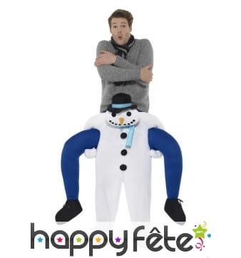 Costume à dos de bonhomme de neige blanc