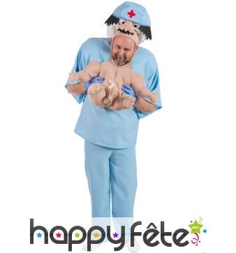 Costume adulte de bébé porté par une nurse