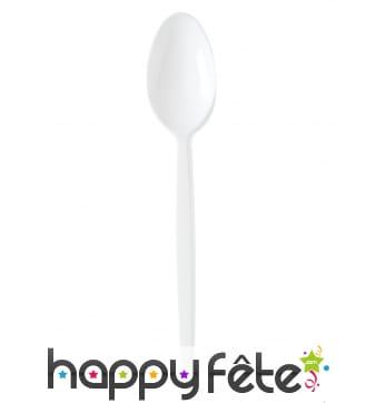 Cuillères à dessert en plastique blanc de 12,5cm
