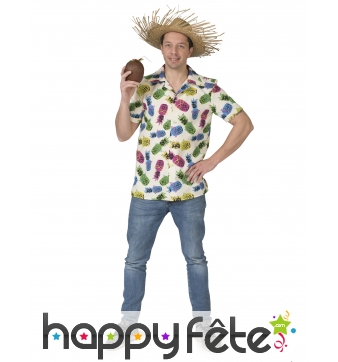 Chemise ananas multicolore pour homme