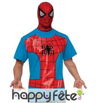 Cagoule avec T-shirt bleu de Spiderman pour homme