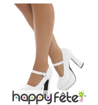 Chaussures blanches années 70 pour femme