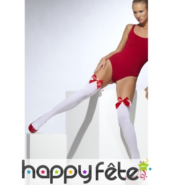 Collants blancs avec noeud rouge