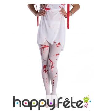 Collants blancs avec tâches de sang pour femme