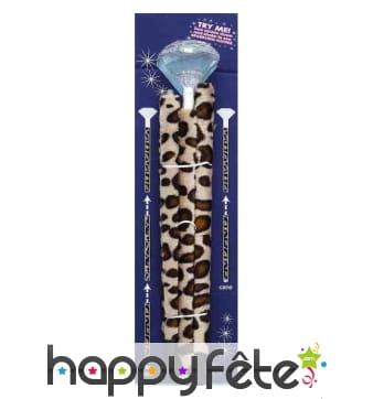 Canne bling bling avec housse léopard
