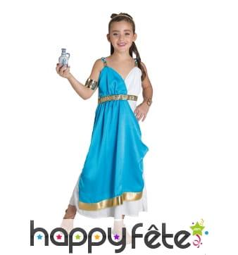 Costume bleu blanc de déesse grecque pour enfant