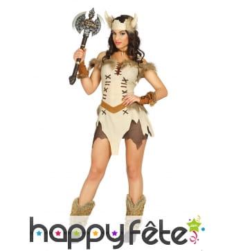 Costume beige court de femme viking
