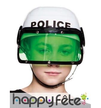 Casque blanc de police pour enfant