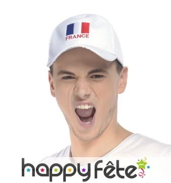 Casquette blanche drapeau français imprimé