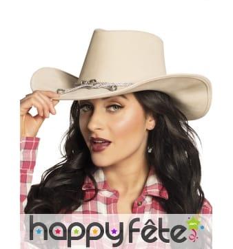 Chapeau beige de cowboy avec corde pour adulte