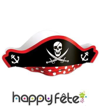 Chapeau bicorne de pirate en papier