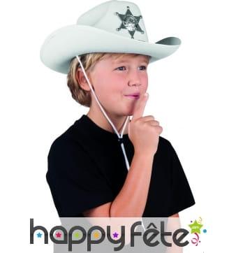 Chapeau blanc de shérif pour enfant