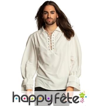 Chemise blanche de pirate pour homme