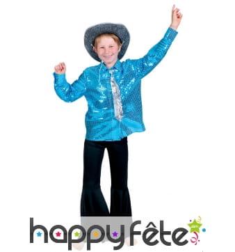 Chemise bleue disco pour enfant