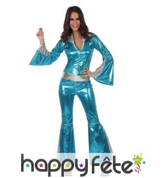 Combinaison bleue disco argentée pour femme