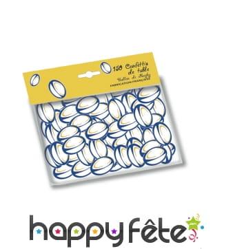 Confettis ballons de rugby bleu