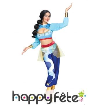 Costume bleu de danseuse orientale pour femme luxe