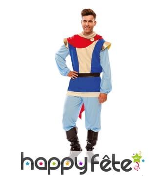 Costume bleu de prince charmant avec cape rouge