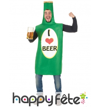 Costume bouteille de bière I love beer
