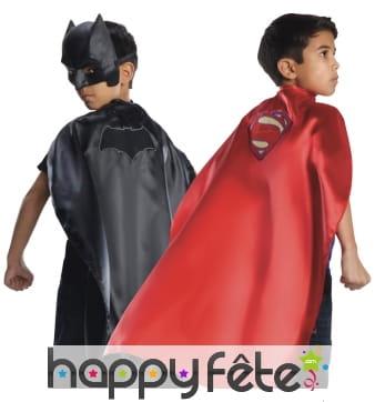 Cape Batman et superman pour enfant, réversible