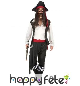Costume blanc et noir de pirate pour adulte