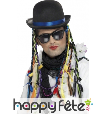 Chapeau Boy George, tresses multicolores