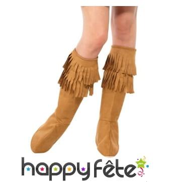 Couvres bottes marron à franges